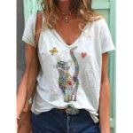 Оригинал              Бабочка и Кот мультфильм печатных смешные с коротким рукавом Женское повседневная блузка