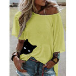 Оригинал              Cat Print Женское Летняя повседневная повседневная блуза с короткими рукавами