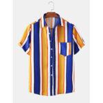 Оригинал              Повседневные рубашки с короткими рукавами и красочным принтом в полоску с короткими рукавами