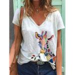 Оригинал              Мультяшный Жираф с принтом животных и V-образным вырезом с коротким рукавом Свободные футболки для Женское