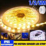 Оригинал              1M 2M 5M Водонепроницаемы LED Полоска 2835 SMD PIR Motion Датчик Шкаф с регулируемой яркостью Лампа для шкафа-купе DC12V