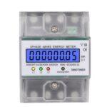 Оригинал              SINOTIMER DDS024T Din-рейка 380 В 80A 3 фазы 4 Провод Электронный счетчик энергии Энергетический измеритель мощности Ваттметр кВтч LCD Подсветка Дисплей