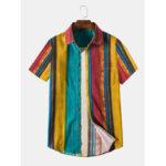 Оригинал              Мужская повседневная хлопковая льняная дышащая рубашка в полоску Colorful