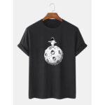 Оригинал              Симпатичный мультфильм Космонавт печати 100% хлопок с коротким рукавом футболки