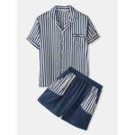 Оригинал              Banggood Designed Мужские повседневные полосатые карманные дышащие рубашки эластичные шорты на талии
