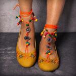Оригинал              LOSTISY Экзотический стиль вышитая бисером цепочка желтые повседневные балетки Богемия