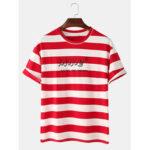 Оригинал              100% хлопок Classic Полосатая футболка с коротким рукавом с принтом в виде букв