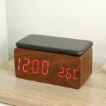 Оригинал              Деревянная цифровая электронная сигнализация Часы Часы с функцией беспроводной зарядки