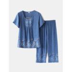 Оригинал              Большой размер Женское Винтаж Печать Loungewear Уютная свободная пижама