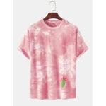 Оригинал              Tie-Dye 100% хлопок дышащий кактус Шаблон Повседневные футболки с коротким рукавом