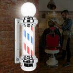 Оригинал              LED Парикмахерская Полюс Красный Белый Синий Полосы Вращающийся Световой Знак Волосы Салон Лампа