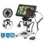 Оригинал              DM9 7 дюймов 1200X Портативный цифровой микроскоп лупа камера 8 LED Огни с проводной Дистанционное Управление + внешний заполняющий свет