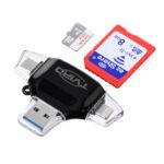 Оригинал              Устройство чтения карт памяти SD / TF Tvird 4-в-1 USB 3.0 + интерфейс OTG + Type-C + Lightning Коннектор Для охоты на ноутбуки камера