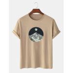 Оригинал              100% хлопок Дизайн Горный пейзаж Повседневная футболка с коротким рукавом