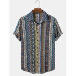 Оригинал              Красочный этнический принт Шаблон Soft Дышащие рубашки с коротким рукавом Винтаж Праздничные рубашки