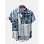 Оригинал              Рубашки с короткими рукавами и воротником из хлопка с цветным принтом в этническом стиле