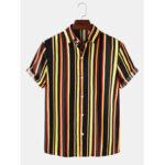 Оригинал              Mens Colorful Рубашки с короткими рукавами и воротником с короткими рукавами Повседневные рубашки