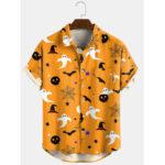 Оригинал              Banggood Дизайн 3 цвета мультфильма с принтом на Хэллоуин и отложным воротником, короткие рубашки