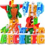 Оригинал              DIY Головоломки Развивающие Игрушки Английский Буква Трансформации Алфавит Динозавр Робот Животных Детские Игрушки Подарок Для Детей