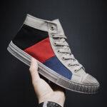 Оригинал              Спортивные повседневные кроссовки для мужчин с цветными блоками и шнуровкой High Top