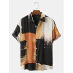 Оригинал              Мужские повседневные хлопковые чернила Splash Print Color BLock Дышащие рубашки с коротким рукавом
