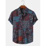 Оригинал              Этнические мужские рубашки с короткими рукавами из хлопка Винтаж