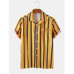 Оригинал              Banggood Special Offs полосатые рубашки с короткими рукавами и воротником Revere