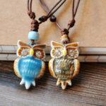 Оригинал              Старинные геометрические стразы сова Кулон ожерелье на шнуровке этническое ручной работы Керамический регулируемое длинное ожерелье
