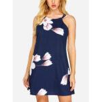 Оригинал              Цветочный принт без рукавов Backless Holiday Mini Платье
