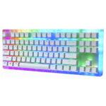 Оригинал              Womier K87 87 клавиш с возможностью «горячей» замены Механический Клавиатура Type-C Проводной USB 3.1 Полупрозрачное стекло База Gateron Switch RGB Gaming Клави