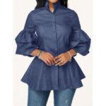 Оригинал              Джинсовая повседневная блуза на пуговицах с длинным рукавом