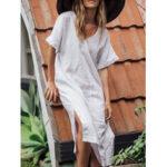 Оригинал              Женский повседневный сплошной цвет с V-образным вырезом Holiday Пляжный с коротким рукавом Maxi Платье