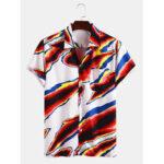 Оригинал              Мужские повседневные рубашки с короткими рукавами и воротником с цветным принтом