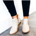 Оригинал              Женщины Большой Размер Острым Носом Пряжка Квадратный Каблук Короткий Ботинки