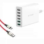 Оригинал              BlitzWolf® BW-S15 60 Вт Dual QC3.0 6-портовое настольное USB-зарядное устройство Smart Adapter EU с BW-TC21 3A LED Type-C Кабель для быстрой зарядки данных для S20 20+ Xiaomi Mi10 Not