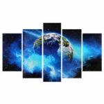 Оригинал              Безрамное Огромное Wall Art Масло Живопись Картины Печать Голубая Планета Живопись на Холсте Домашнего Офиса Гостиная Декор
