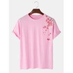 Оригинал              Хлопковый журавль с цветком персика Шаблон Этнические футболки с коротким рукавом