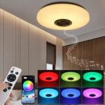 Оригинал              RGBW LED Потолочный светильник Music Speaker Лампа Bluetooth APP + Дистанционное Управление Спальня Умный потолок Лампа