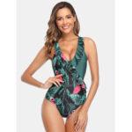 Оригинал              Женщины тропические листья фламинго принт оборками гавайский праздник One шт. Пэчворк Купальный костюм