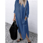 Оригинал              Женская повседневная джинсовая рубашка с длинными рукавами Платье