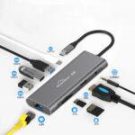 Оригинал              Blueendless 9 В 1 Адаптер док-станции концентратора USB-C с 3 * USB 3,0 / 60 Вт Type-C PD / 4K HD Дисплей Видеовыход / RJ45 Сетевой порт / 3,5-мм аудиоразъем / устройства
