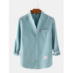 Оригинал              Мужские рубашки с длинным рукавом из хлопка сплошного цвета с карманом