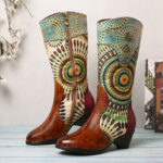 Оригинал              SOCOFY Women's Splicing Tribal Шаблон Молния Western Cowboy Ботинки