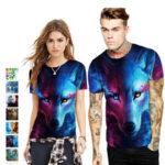 Оригинал              Мужская забавная футболка, летняя удобная футболка с 3D цифровой печатью и короткими рукавами Тонкий Quick Dry Crewneck Top Кемпинг Travel Hiking