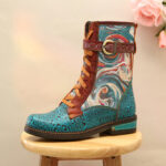 Оригинал              SOCOFY Embossed Натуральная Кожа Splicing Fancy Шаблон Застежка-молния на плоской подошве на шнуровке, короткая Ботинки