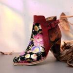 Оригинал              SOCOFY Retro Bloomed Flower в сочетании с современным стилем Письмо Элегантный уникальный высокий каблук Ботинки