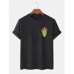 Оригинал              Мужская 100% хлопок Кактус Печатный Круглый Шея Повседневные футболки с коротким рукавом