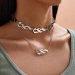 Оригинал              Модное металлическое полое пламя с многослойным ожерельем Flame Tassel Кулон Цепочка ключицы