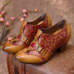 Оригинал              SOCOFY Cowgirl Ручная роспись в стиле ретро с цветами Шаблон Rivet Натуральная Кожа Туфли-лодочки на низком каблуке без шнуровки