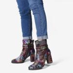 Оригинал              SOCOFY Retro Colorful Шаблон Натуральная Кожа Великолепная молния на высоком квадратном каблуке Ботинки